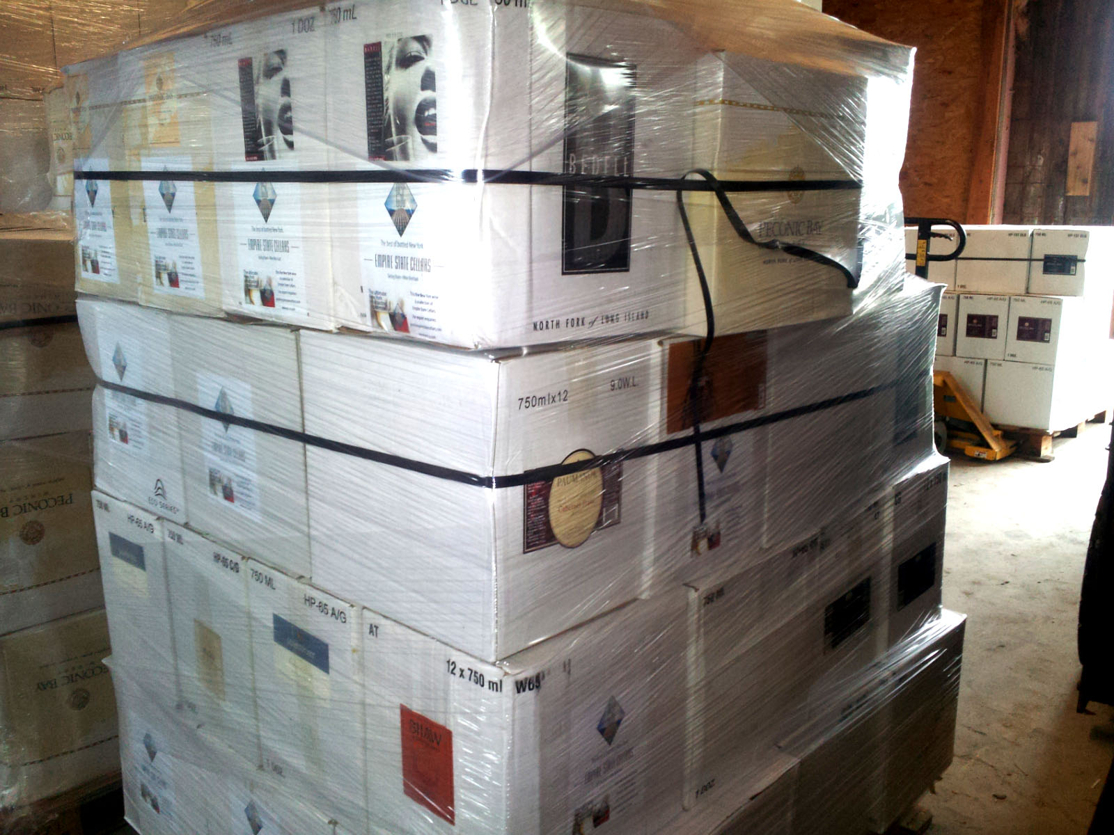 The first pallet of New York wine being prepped for shipment to Shanghai, China