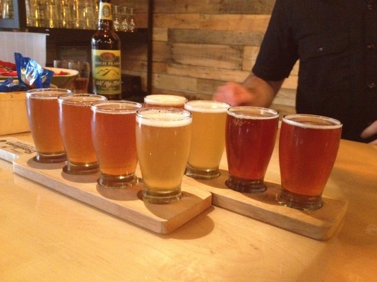 A flight of Beer Week offerings at Aurora Brew Works.