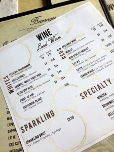 The wine list at Bonnie Jean's in Southold, NY