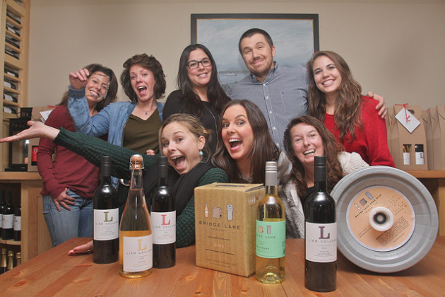 BARBARAELLEN KOCH PHOTOThe team at Lieb Cellars: (back row from left) controller Dayna Corlito, tasting room associate Julia King, tasting room manager Alicia Ekeler-Valle, CFO Dave Sanatore and marketing and wine club manager Dana Kowalsick. Brand ambassador Madison Fender (front row from left), general manager Ami Opisso and operations manager Melissa Cannady.